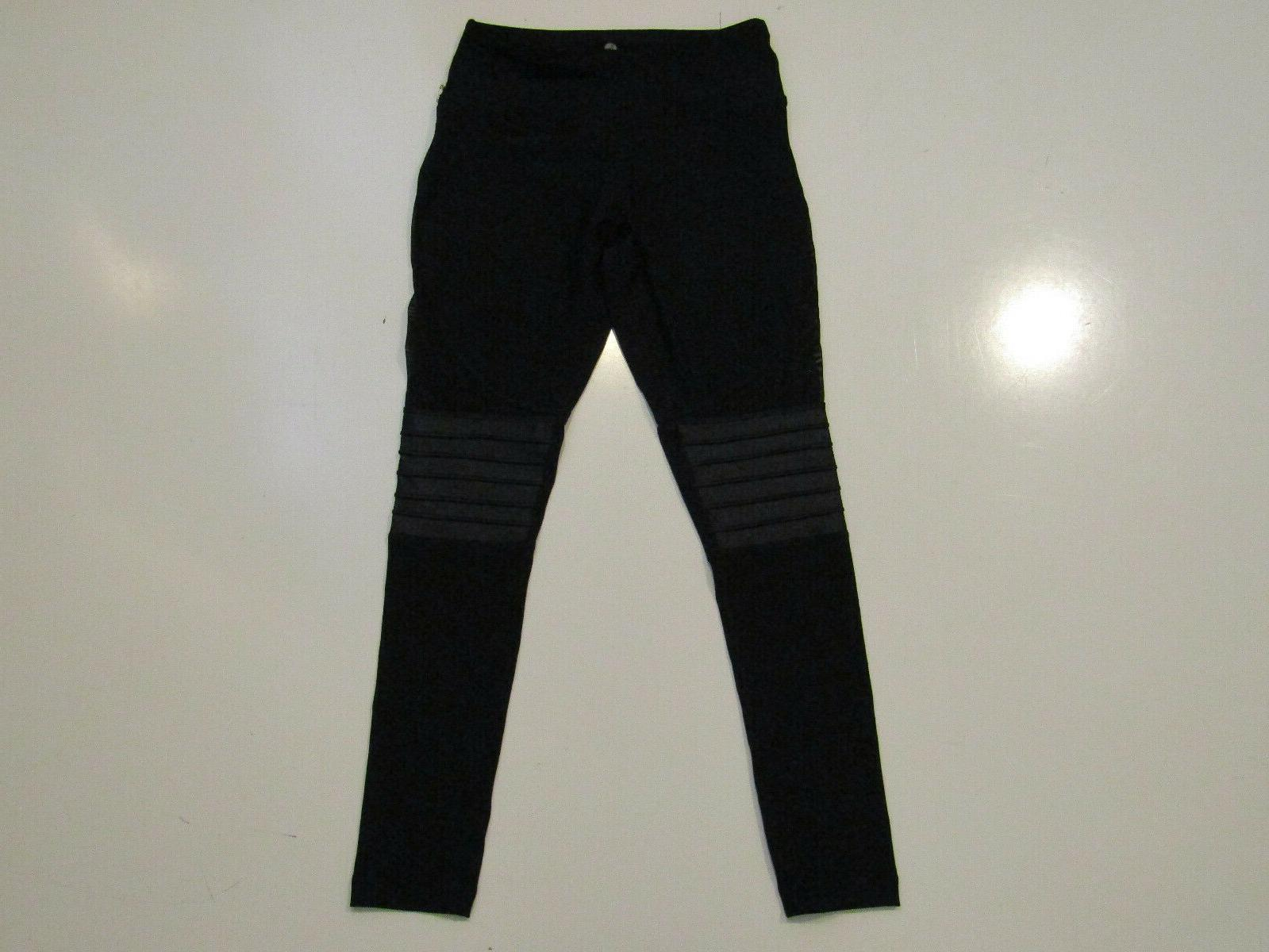 womens black active exercise running pants mesh