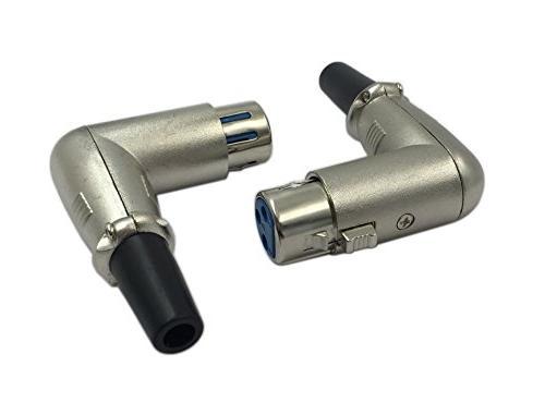 Cerrxian 90 3 Pin Female Jack Socket Solder Type Audio Microphone Line Converter