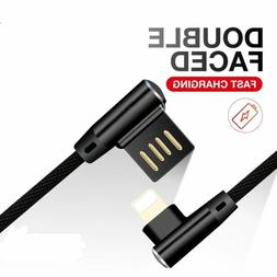 Lightning Type C Micro USB to USB Cable 90 Degree 3A Fast Ch