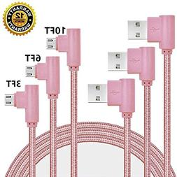 Micro USB Cable, CTREEY 90 Degree 3 Pack 3FT 6FT 10FT Long P