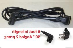 6 FOOT 2 Prong Right angled 90 degree power cord for samsung