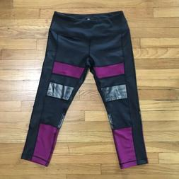 NEW- 90 DEGREE BY REFLEX Women's M Black/Pink/Silver Capri A