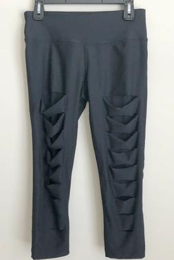New 90 Degree by Reflex Capri Black Pants Cut Front Size M