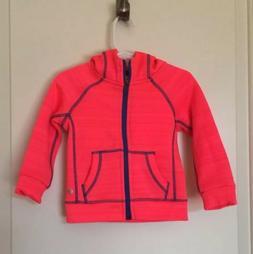 NEW 90 Degree Baby toddler Girl Zip Up Neon Coral Hoodie, SZ