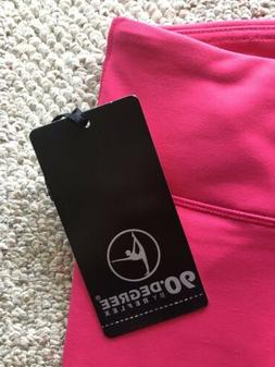 NWT 90 Degree By Reflex Women CAPRI Leggings, Raspberry PINK