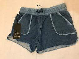 NWT Womens 90 DEGREE BY REFLEX Denim Blue Knit Lounge Shorts