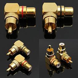 Davitu Onsale 2pcs Gold Plated 90 Degree RCA Adapter Right A