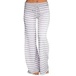 Women Pajama Bottom Sleep Lounge Yoga Pants Striped Wide Leg