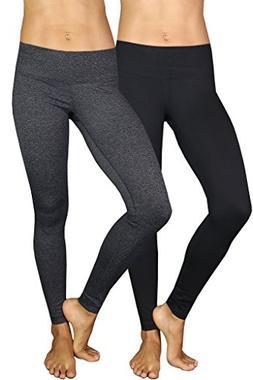 90 Degree By Reflex Power Flex Yoga Pants - Black and Heathe