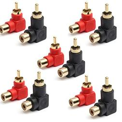 RCA Male to RCA Female Connectors Right Angle Plug Adapters