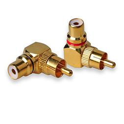 Conwork 2-Pack RCA Male to Female 90 Degree Right Angle Plug