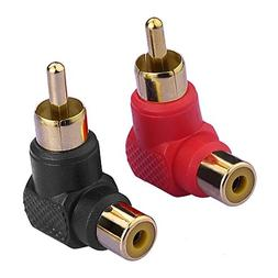 Eightnoo 2-PACK RCA Male Plug to RCA Female Right-Angle Gold