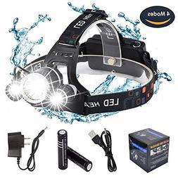 DABASO Rechargeable Headlamp,Adjustable Headband and 90 Degr