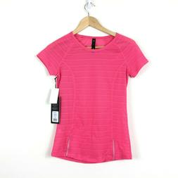 90 Degree By Reflex Athletic Ribbed Tee Top Size XS Pink Str