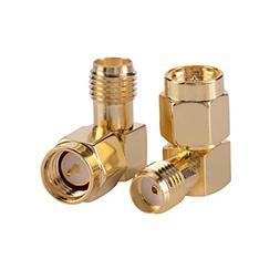 I-MART 2PCS Right Angle 90 Degree Gold Plated SMA Male Pin t