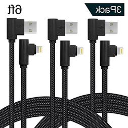 Right Angle Lightning Cable 10ft 3Pack 90 Degree iPhone Char