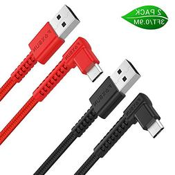 Right Angle Micro USB Android Charging Cable 2Pack - 90 Degr