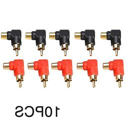 10pc Right Angle 90 Degree RCA Male to RCA Female Connector