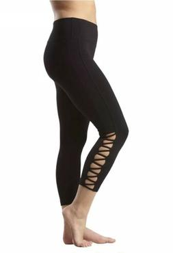 90 Degree By Reflex Side Cut Out Capris Leggings Womens Size