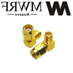MWRF Source 2PCs Right Angle 90-Degree Gold Plated RP-SMA Ma