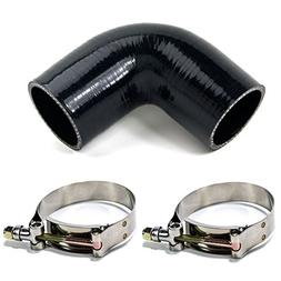 """Squirrelly 2"""" inch Black Silicone Coupler 90 Degree Turbo In"""