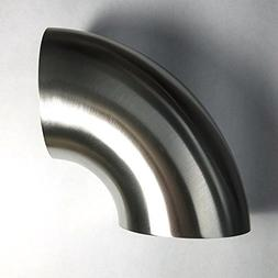 "Stainless 2.5"" 90° Mandrel Bend Elbow - 1D/2.5"" CLR Tight R"