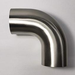 """Stainless 2.5"""" 90° Mandrel Bend Elbow - 1D/2.5"""" CLR Tight R"""