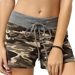 Summer Clearanc!Women's Camouflage Workout Yoga Hot Shorts D