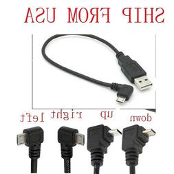 USB 2.0 A Male to Left Right 90 degree Angle Micro 5 Pin Cab