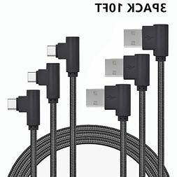 USB Type C Cable, CTREEY 90 Degree 3 Pack 10ft Nylon Braided