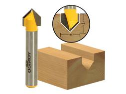 "90° V Groove Template Router Bit - 3/8""x 3/16"" - 1/4"" Shank"