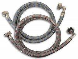Washing Machine Hoses 5ft 2 Pack Stainless Steel Red/Blue Li