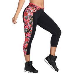 Zumba Women's Shaping Capri Workout Leggings with Fashion Pr