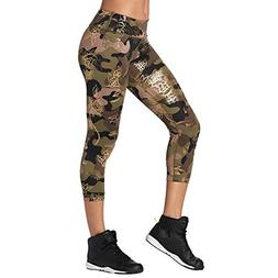 Zumba Women's Wide Waistband Print Capri Legging with Compre