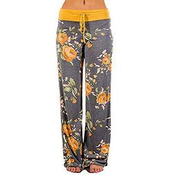 Womens Comfy Stretch Floral Print Drawstring Lounge Pants Ou