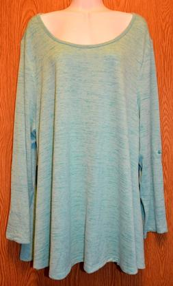 Womens Pretty Jade Blue 90 Degree Long Sleeve Shirt Size Med