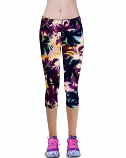 Womens Printed Active Workout Capri Leggings Outfit Stretch